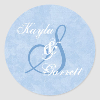 Blue and White Monogram S or Any Initial V9 Classic Round Sticker