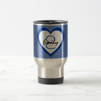 Blue and White  Monogram Travel Mug