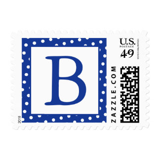 Blue and White Monogrammed Postage Stamps - dots