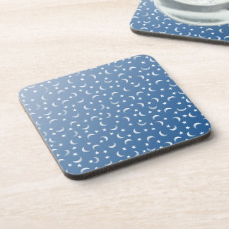 Blue and White Moon and Stars Beverage Coaster