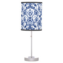 Blue and White Moroccan Casbah Damask Desk Lamp