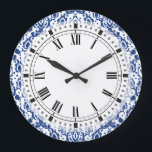 "Blue and White Moroccan Casbah Damask Large Clock<br><div class=""desc"">Elegant blue and white damask pattern with a Moroccan style.</div>"