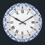 """Blue and White Moroccan Casbah Damask Large Clock<br><div class=""""desc"""">Elegant blue and white damask pattern with a Moroccan style.</div>"""