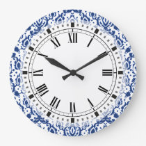 Blue and White Moroccan Casbah Damask Large Clock