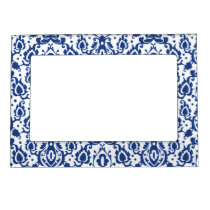 Blue and White Moroccan Casbah Damask Magnetic Frame