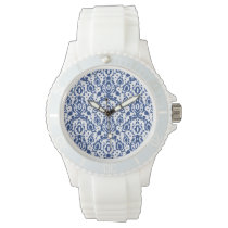 Blue and White Moroccan Casbah Damask Watch