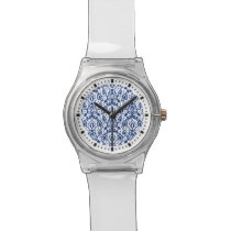Blue and White Moroccan Casbah Damask Wrist Watch