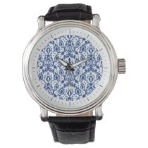 Blue and White Moroccan Casbah Damask Wristwatches