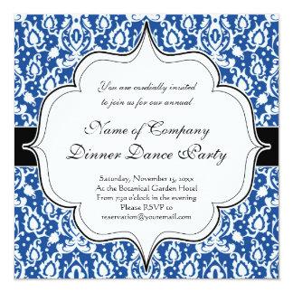 Blue and White Moroccan Damask 5.25x5.25 Square Paper Invitation Card