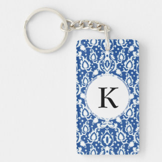 Blue and White Moroccan Damask Double-Sided Rectangular Acrylic Keychain