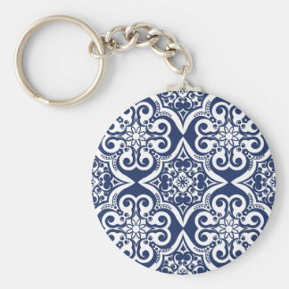 Blue and White Moroccan Pattern Keychain