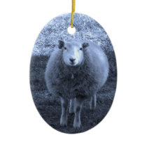 Blue and White  Mother sheep Ceramic Ornament