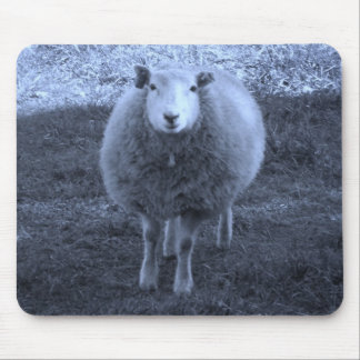 Blue and White  Mother sheep Mouse Pad