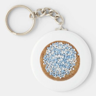 Blue and White Muisjes Keychain