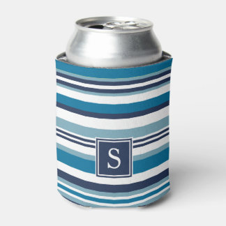 Blue and White Multi Stripe Monogram Can Cooler