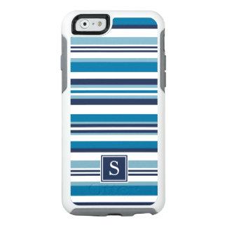 Blue and White Multi Stripe Monogram OtterBox iPhone 6/6s Case