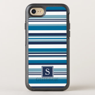 Blue and White Multi Stripe Monogram OtterBox Symmetry iPhone 7 Case