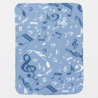 Blue and White Music Notes Random Pattern Baby Blanket