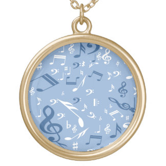 Blue and White Music Notes Random Pattern Gold Plated Necklace
