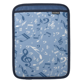 Blue and White Music Notes Random Pattern Sleeve For iPads