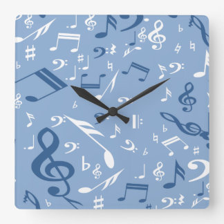 Blue and White Music Notes Random Pattern Square Wall Clock