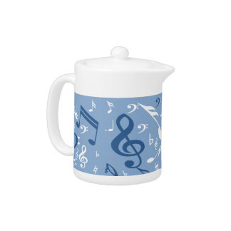 Blue and White Music Notes Random Pattern