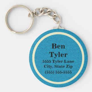 Blue and White Name Address Phone Keychain