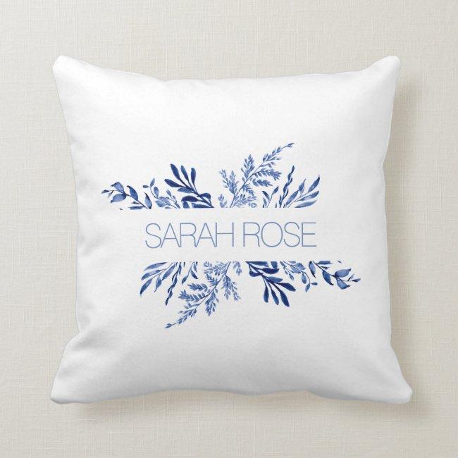 Blue and White Name Throw Pillow