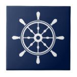 """Blue and White Nautical Ceramic Tile - Ship Wheel<br><div class=""""desc"""">Blue nautical cermaric tile with White ship wheel. Beautiful decor for nautical homes. For sailors and everyone,  who loves nautical,  New England,  Hampton&#39;s and Nantucket Style.</div>"""