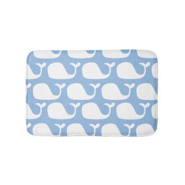 Beach Themed Blue and White Nautical Ocean Whales Bath Mat