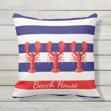 Beach Themed Blue and white nautical stripes and red lobsters throw pillow