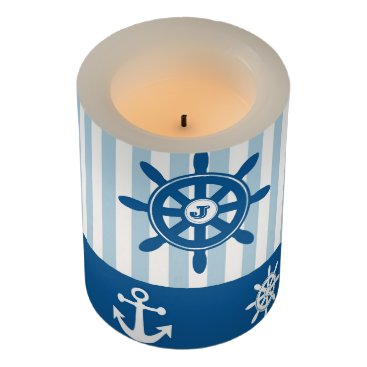Beach Themed Blue and White Nautical  themed Monogramed design. Flameless Candle