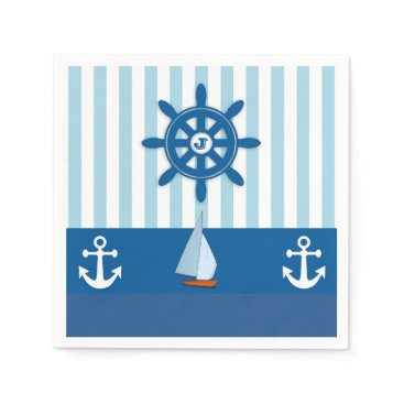Beach Themed Blue and White Nautical  themed Monogramed design. Paper Napkin