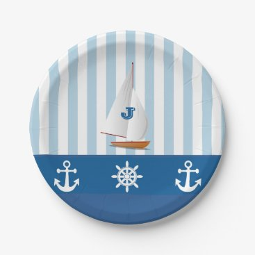Beach Themed Blue and White Nautical  themed Monogramed design. Paper Plate