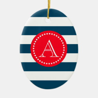 Blue and white navy pattern christmas ornament