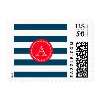 Blue and white navy pattern postage
