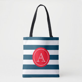 Blue and white navy pattern tote bag