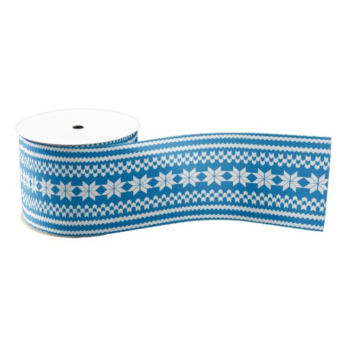 Blue and White Nordic Christmas Sweater Pattern Grosgrain Ribbon