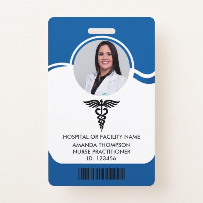 Blue and White Nurse Photo ID Badge