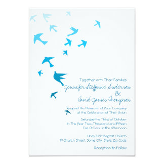 Blue and White Ombre Doves Wedding Invitations