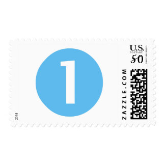 Blue and White One Year Old Postage Stamp