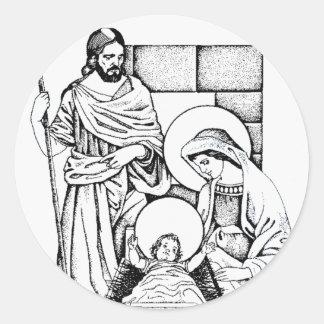 Blue and White Original Nativity Classic Round Sticker