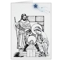 Blue and White Original Nativity Greeting Cards