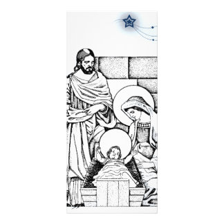 Blue and White Original Nativity Rack Card