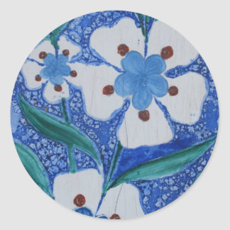 Blue and White Ottoman Ceramics - floral pattern Classic Round Sticker
