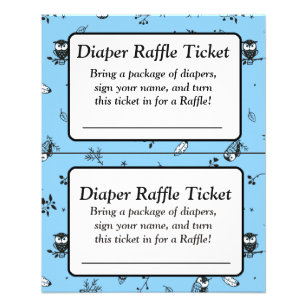 Blue And White Owl Themed Baby Shower Games Flyer