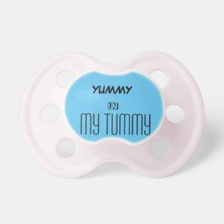 Blue and white pacifier yummy in my tummy BooginHead pacifier