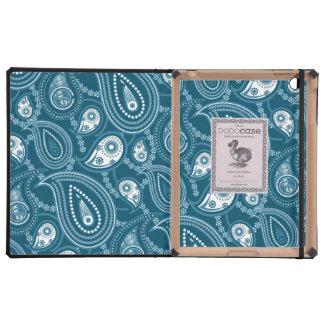 Blue and White Paisley Pattern iPad Folio Case