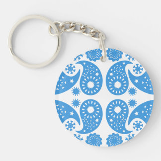 Blue and White Paisley Pattern. Keychain