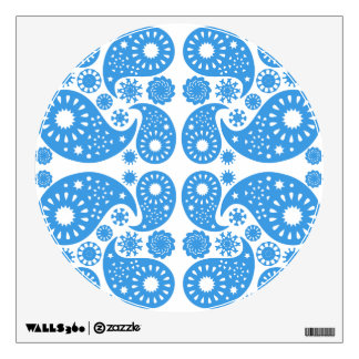 Blue and White Paisley Pattern. Wall Sticker